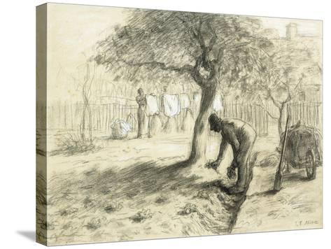 Gardening-Jean-Fran?ois Millet-Stretched Canvas Print