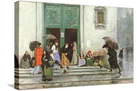 Coming Out of Church, before 1875-Raimundo de Madrazo Y Garetta-Stretched Canvas Print