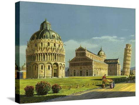 Pisa, Baptistry, Cathedral, Leaning Tower--Stretched Canvas Print