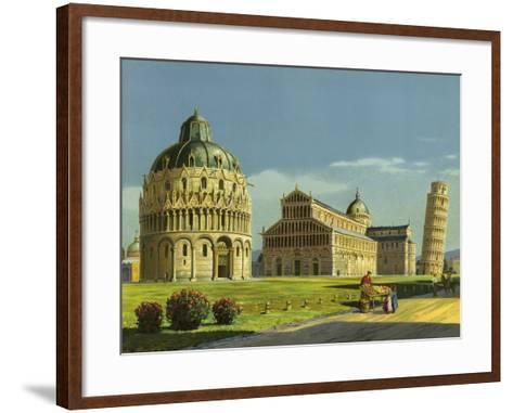 Pisa, Baptistry, Cathedral, Leaning Tower--Framed Art Print