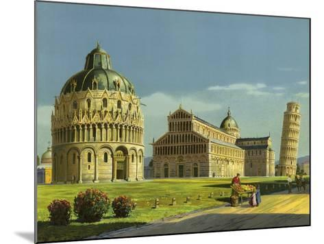 Pisa, Baptistry, Cathedral, Leaning Tower--Mounted Giclee Print