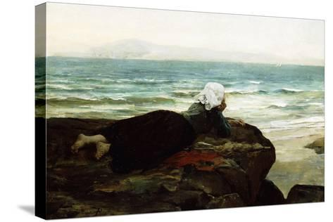 Looking Out to Sea-Jules Breton-Stretched Canvas Print