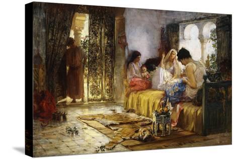 Domestic Interior Scene-Frederick Arthur Bridgman-Stretched Canvas Print