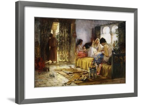 Domestic Interior Scene-Frederick Arthur Bridgman-Framed Art Print