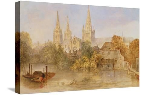 Lichfield Cathedral from Stowe Pool, C.1850--Stretched Canvas Print