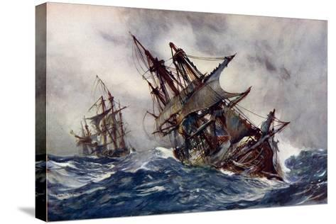 """The """"Fame"""" with Foul-Weather Jack-Charles Edward Dixon-Stretched Canvas Print"""