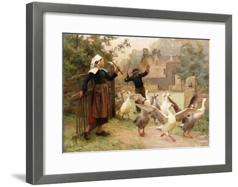 Guiding the Gaggle-Eugene Leon Labitte-Framed Art Print