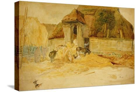 Animals before a Thatched Barn-James Ward-Stretched Canvas Print