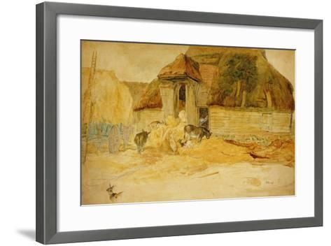 Animals before a Thatched Barn-James Ward-Framed Art Print