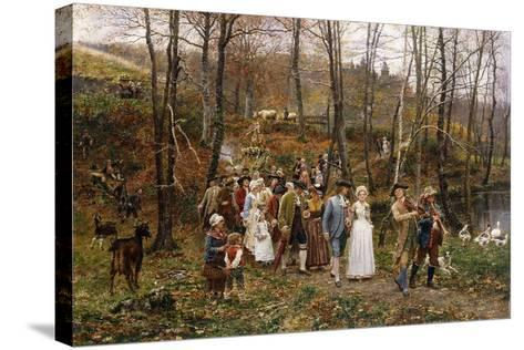 A Wedding Procession, 1879-Marie Francois Firmin-Girard-Stretched Canvas Print