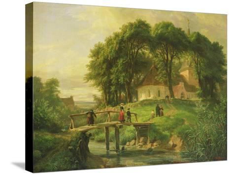 Going to Church in Alt-Rahlstedt, 1861-Otto Speckter-Stretched Canvas Print