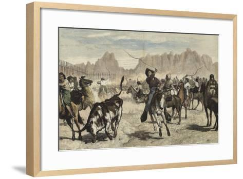 Driving Cattle into a Corral, Nebraska-Valentine Walter Lewis Bromley-Framed Art Print