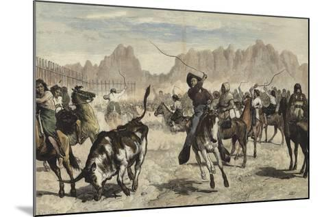 Driving Cattle into a Corral, Nebraska-Valentine Walter Lewis Bromley-Mounted Giclee Print