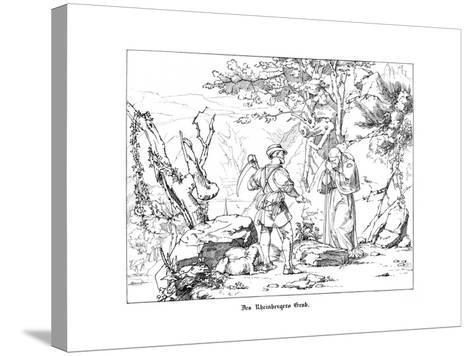 The Rheinberger's Grave-Alfred Rethel-Stretched Canvas Print