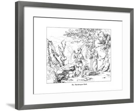 The Rheinberger's Grave-Alfred Rethel-Framed Art Print