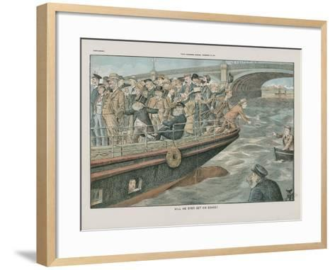 Will He Ever Get on Board?--Framed Art Print
