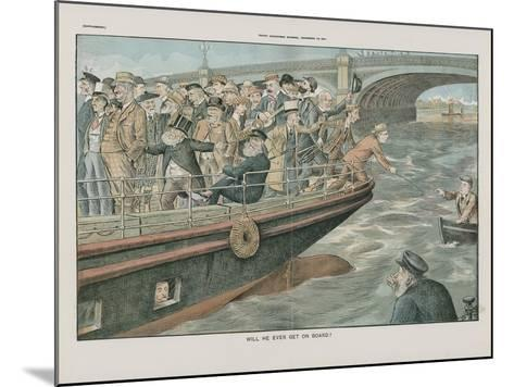 Will He Ever Get on Board?--Mounted Giclee Print