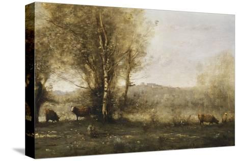 The Pond with Three Cows-Jean-Baptiste-Camille Corot-Stretched Canvas Print