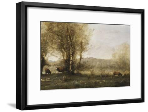 The Pond with Three Cows-Jean-Baptiste-Camille Corot-Framed Art Print