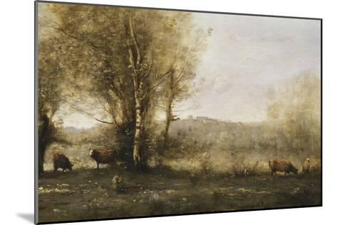 The Pond with Three Cows-Jean-Baptiste-Camille Corot-Mounted Giclee Print