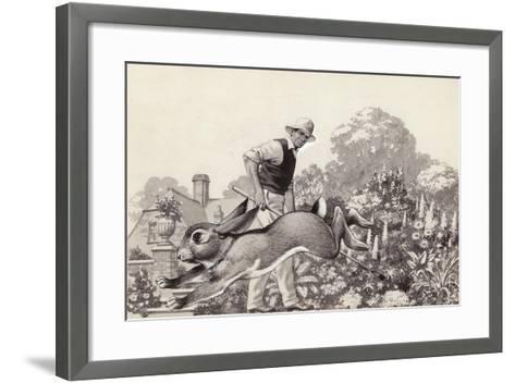 A Rabbit Runs around a Garden in a Cat Collar-Pat Nicolle-Framed Art Print