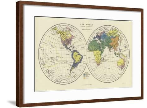 The World Showing Distribution of Religions--Framed Art Print