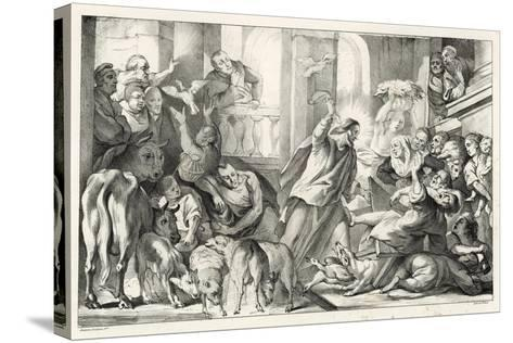 Jesus Casting the Moneylenders Out Ot the Temple-William Oliver-Stretched Canvas Print