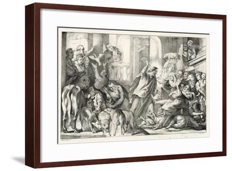 Jesus Casting the Moneylenders Out Ot the Temple-William Oliver-Framed Art Print