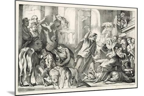 Jesus Casting the Moneylenders Out Ot the Temple-William Oliver-Mounted Giclee Print