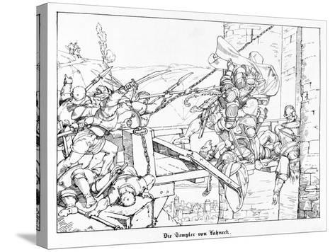 The Templars of Lahneck, Engraved by J. Dielmann-Alfred Rethel-Stretched Canvas Print