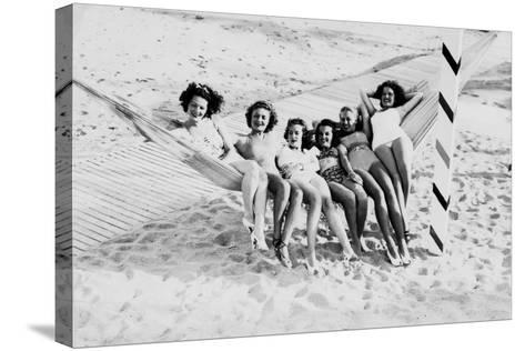 How Many Women Fit in a Hammock? C.1940--Stretched Canvas Print