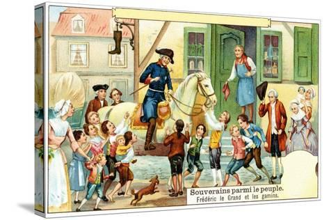 Frederick the Great of Prussia with the Urchins--Stretched Canvas Print