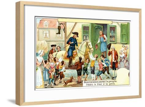 Frederick the Great of Prussia with the Urchins--Framed Art Print