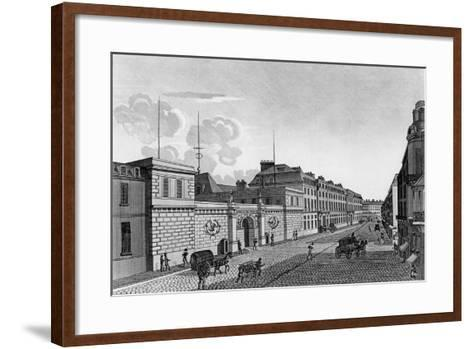 View of the Bank of France from the Rue Croix-Des-Petits-Champs, 1800-Henri Courvoisier-Voisin-Framed Art Print