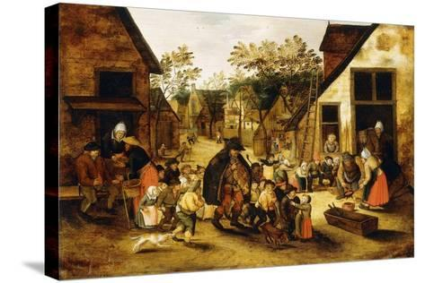 A Blind Hurdy-Gurdy Player Surrounded by Children in a Village, C.1610-Pieter Brueghel the Younger-Stretched Canvas Print