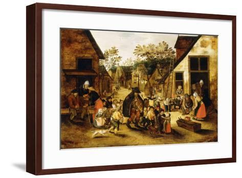 A Blind Hurdy-Gurdy Player Surrounded by Children in a Village, C.1610-Pieter Brueghel the Younger-Framed Art Print