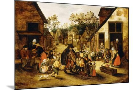 A Blind Hurdy-Gurdy Player Surrounded by Children in a Village, C.1610-Pieter Brueghel the Younger-Mounted Giclee Print
