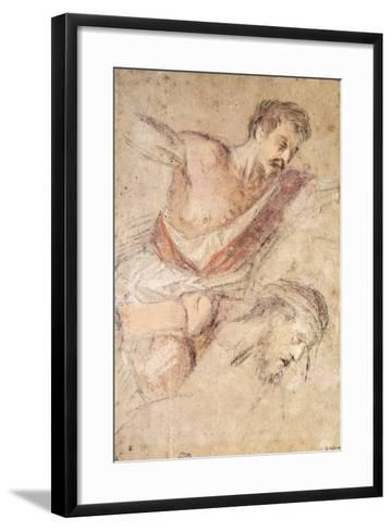 Studies for a Flagellation: a Man Scourging and the Head of Christ-Jacopo Bassano-Framed Art Print