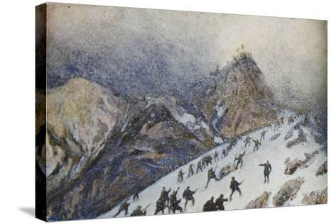 Advanced on Col Di Lana, Italian Propaganda Postcard-Tommaso Cascella-Stretched Canvas Print