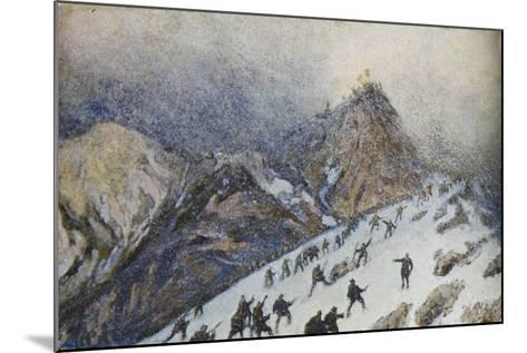 Advanced on Col Di Lana, Italian Propaganda Postcard-Tommaso Cascella-Mounted Giclee Print