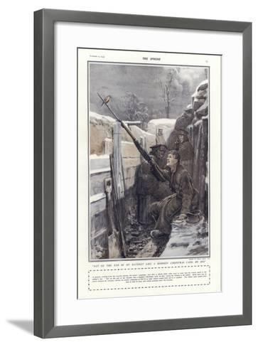 """""""Sat on the End of My Bayonet Like a Bloomin' Christmas Card, He Did""""-Philip Dadd-Framed Art Print"""