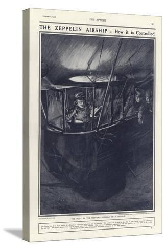 German Pilot in the Forward Gondola of a Zeppelin, World War I-Philip Dadd-Stretched Canvas Print