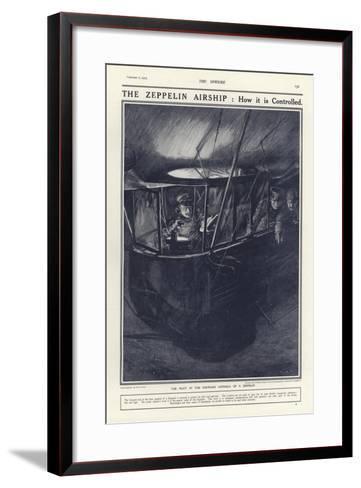 German Pilot in the Forward Gondola of a Zeppelin, World War I-Philip Dadd-Framed Art Print