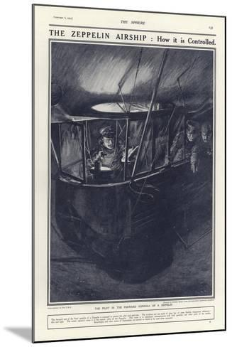 German Pilot in the Forward Gondola of a Zeppelin, World War I-Philip Dadd-Mounted Giclee Print