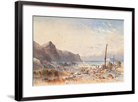 A Breezy Day with Fisherfolk on the Foreshore, 1874-William Cook of Plymouth-Framed Art Print