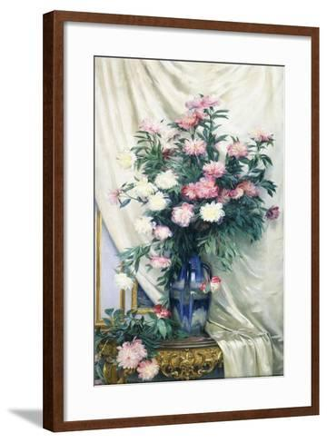 Peonies in a Blue Vase on a Draped Regency Giltwood Console Table-Albert Aublet-Framed Art Print