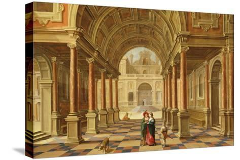 A Capriccio View in the Courtyard of a Classical Mansion, 1628-Bartolomeus Van Bassen-Stretched Canvas Print