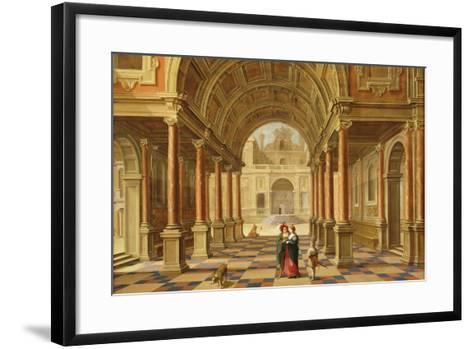 A Capriccio View in the Courtyard of a Classical Mansion, 1628-Bartolomeus Van Bassen-Framed Art Print