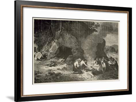 Un Repas Funeraire a L'Epoque Du Grand Ours Et Du Mammouth-Emile Antoine Bayard-Framed Art Print