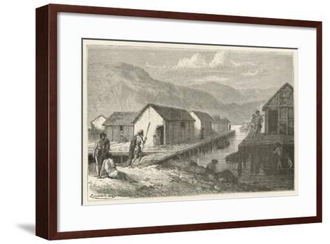 Un Village Lacustre De La Suisse a L'Epoque Du Bronze-Emile Antoine Bayard-Framed Art Print